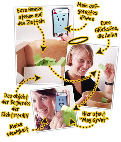 Dokumentation der iPhone-Case Verlosung: Wie Ihr seht, ging es mit rechten Dingen zu.